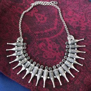 Oxidised boho silver necklace